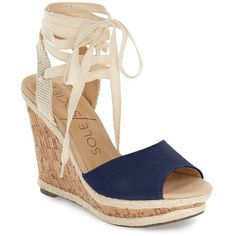 """Sole Society 'Sena' Espadrille Wedge, 4 1/4"""" heel ($70) ❤ liked on Polyvore featuring shoes, sandals, navy, wedge sandals, espadrille wedge sandals, high heel sandals, navy wedge sandals and platform sandals"""