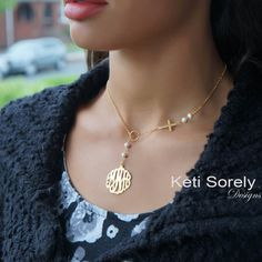Beautiful combination of monogrammed Initials charm and sideways cross. This necklace will be meticulously detailed by our talented jewelers