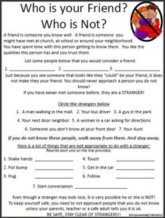 "4 ""friend"" social skills worksheets"