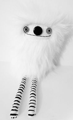 Black and White Plush Art Doll Plushie Faux Fur by polkadottydolls, $60.00
