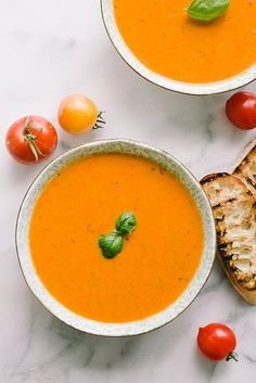 "Creamy Roasted Tomato Soup (recipe) - ""This recipe is seriously tasty especially when paired with a grilled cheese sandwich (drool)."""