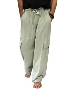 Men's Cargo Pants Elastic Waist & Drawstring 100% Cotton 4 Pockets - 2 Main Side Pockets & 2 Leg Pockets. Comfortable loose fitting One Size with elastic waist and drawstring. Perfect for all occasion