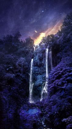 Blue Forest Waterfall - iPhone Wallpapers