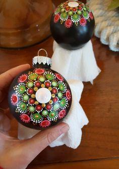 Dot painted mandala Christmas ornament