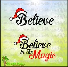 Believe in the Magic Santa Cap Design Digital Clipart Instant Download Full Color SVG Png EPS DXF file High Quality 300 dpi Jpeg - pinned by pin4etsy.com