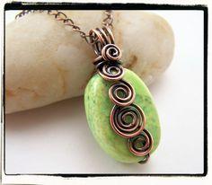 049 Green Turquoise Freeform Antique Copper Spirals Pendant no Chain. $19.99, via Etsy.