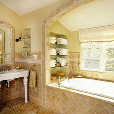 Bathroom - glass shelves