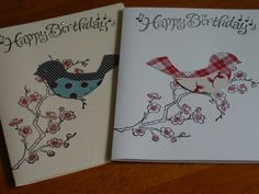 Birthday card-note-handmade set of 2 greeting card-blank by ihunt