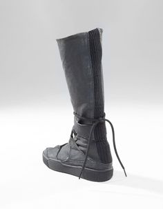 high top long boots, rib band on the back, closing by side zipper and laces Futuristic Shoes, Apocalyptic Fashion, Wildstyle, Long Boots, High Tops, Zipper, Band, Wild West, Star Wars