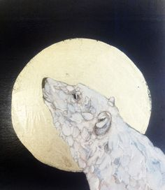 Polar Bear Painting - Fine Art - Original Oil Painting with 12k White Gold Leaf