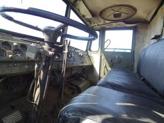 Driving seat of the Maz 537 truck that was used for transporting and loading missiles to the ICBM base