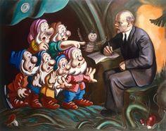 Choque irónico. Es indudable que la idea de los cuadros de Kosolapov es crear un choque irónico entre el arte kitsch del realismo socialista con los dibujos de Walt Disney con la intención de hacer una crítica tanto socio-política como religiosa en clave pop. Lo que consigue es homologar a los genocidas con la cultura de masas. | Alexander Kosolapov