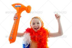 girl with orange hammer ...  EK, WK, accessory, background, blue, celebrate, celebration, championship, dutch, face, facial, football, game, girls, hammer, holland, isolated, kids, make-up, match, netherlands, orange, party, people, posed, queen, queensday, red, soccer, studio, supporter, white, young