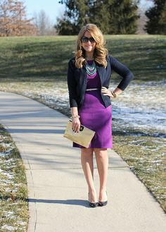 Purple dress, Navy cardigan, Stella & Dot Zahara Bib necklace, be sure to click through to this site for a TON of work outfit ideas