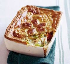"""Chicken, leek & parsley pie """"This satisfying evening meal can be made in advance: simply make up the pie and freeze until you are ready to bake it"""" Bbc Good Food Recipes, Pie Recipes, Cooking Recipes, Chicken Recipes, Recipies, Baby Recipes, Sweet Recipes, Dinner Recipes, Chicken And Leek Pie"""
