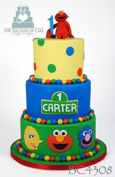 sesame street three tier cake - Google Search