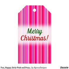 Fun Happy Girly Pink and Purple Stripes Pattern Gift Tags - christmas craft supplies cyo merry xmas santa claus family holidays Holiday Gift Tags, Christmas Tag, Family Gifts, Kids Gifts, Girly Gifts, Diy Funny, Merry Xmas, Cool Gifts, Craft Supplies