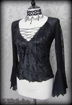 Gothic Black Crushed Velvet Fishnet Lace Up Top S 8 10 Witchy Romantic Goth | THE WILTED ROSE GARDEN