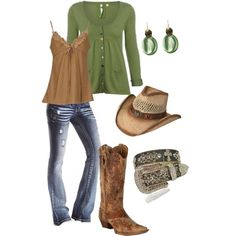 Not fond of boots or hat but like the outfit. I would stick with dressier brown boots