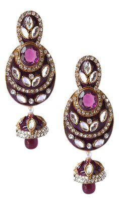 Beauty takes on a whole new meaning when you are adorned in this Unique Purple Color Brass Gold Plated Fashion Earrings. the gorgeous cubic zirconia across Sapphire Earrings, Stone Earrings, Women's Earrings, Fashion Earrings, Blue Sapphire, Plating, Brooch, Brass, Purple