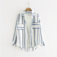 舒然衣社 双口袋日系小清新宽松条纹长袖衬衫女夏装新款夏季上衣