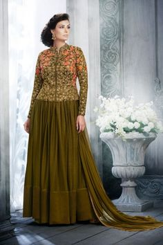Olive Net Anarkali Suit With Sequins And Embroidered Dupatta - DMV15040