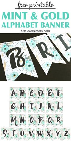 This printable birthday banner features mint and gold floral! Included is the entire alphabet, as well as a printable HAPPY BIRTHDAY PDF. There are SO many options for how you could use this free printable birthday banner! Happy Birthday Banner Printable, Free Printable Banner Letters, Diy Birthday Banner, Diy Banner, Happy Birthday Banners, Birthday Wishes, Birthday Quotes, Birthday Images, Banner Template