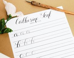 Modern calligraphy practice worksheets lowercase letters