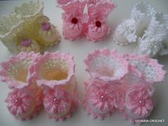 "Crochet Booties ""New Baby Girl"" Tutorial Pattern by Lyubava Crochet"
