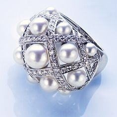 Chanel white gold, south sea pearl, and diamond ring