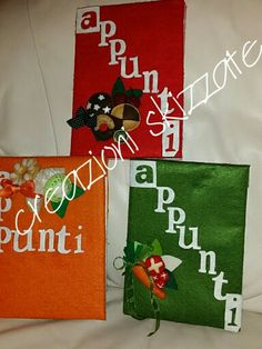 Quaderni appunti con dolcetti e frutta 3D in pannolenci Gift Wrapping, Gifts, Gift Wrapping Paper, Presents, Wrapping Gifts, Favors, Gift Packaging, Gift