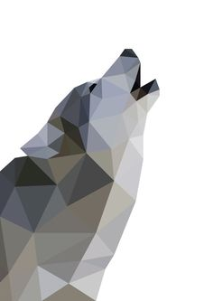 Wolf Wall Art Geometric Wolf Printable Home Decor by RadCladPrints