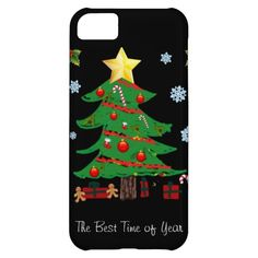 Whimsical Christmas Tree with Gifts, Black Background, Christmas iPhone 5 Case. #christmasiphone5cases