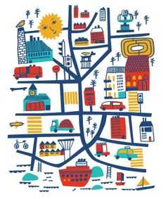 One Day in the City 1 Reka Kiraly Map Design, Graphic Design, Rock N Folk, Hawaiian Party Decorations, Freebies, Travel Illustration, Flat Illustration, City Maps, Plans