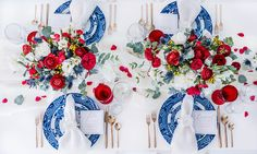 This Ultra-Chic Bedford, NY 4th Of July Party Will Have You Seeing Stars (And Stripes) - Wilkie Blog! - Birds eye view of the table top