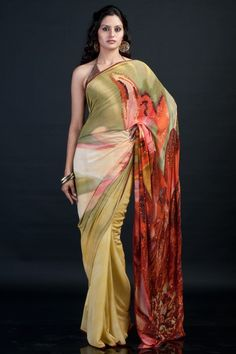 A floral print saree with a big flower at the pallu making a statement in itself by Satya Paul. $625