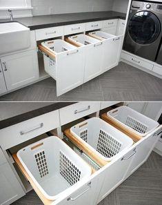 home storage and organization, small laundry room ideas #Decoracionbaños #bañosmodernos