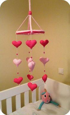 28 Ideas Crochet Heart Mobile Etsy For 2019 Crochet Baby Mobiles, Crochet Mobile, Crochet Baby Toys, Crochet Amigurumi Free Patterns, Crochet Baby Booties, Crochet Flower Scarf, Crochet Blanket Edging, Crochet Shawls And Wraps, Crochet Game