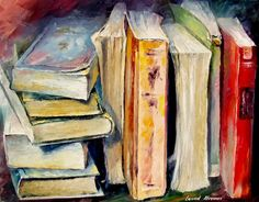 BOOKS — Palette knife Oil Painting on Canvas by Leonid Afremov - Size Old Paintings, Original Paintings, Acrylic Paintings, Anime Comics, Elizabeth Gilbert, Still Life Art, Palette Knife, Oil Painting On Canvas, Painting Clouds