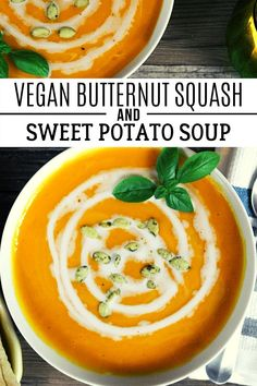 If you are looking for a rich, creamy and comforting bowl of soup that is dairy-free, gluten-free and  utterly delicious, then you need to save this recipe right now! Enjoy the lovely fall flavors with every spoonful. #veganhuggs #fallflavors #autumndish Potato Leek Soup, Sweet Potato Soup, Butternut Squash Soup, Vegan Soups, Vegan Snacks, Vegan French Onion Soup, Dairy Free, Gluten Free, Fall Dinner Recipes