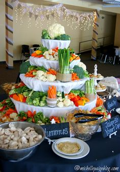 Veggie Tower Michelle Paige Wedding Reception Rustic Foods