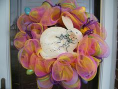 Easter Bunny Deco Mesh Wreath by CharmedSouth on Etsy, $75.00