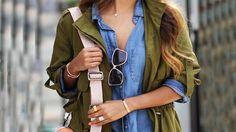 MODA 2016|OUTFITS CASUALES PARA DIARIO Khaki Parka, Autumn Morning, Denim Shirt, Rain Jacket, Windbreaker, Jackets, Shirts, Blog, Mornings