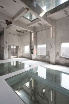 Stunning glass factory conversion in China. SZ-HK Biennale-Silo Reconversion / O-OFFICE Architects Loft Interior Design, Industrial Interior Design, Industrial Architecture, Loft Design, Industrial Interiors, Interior Architecture, House Design, Loft Interiors, Modern Interiors