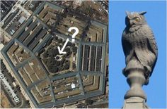 """Molech figurine in the Pentagon. Molech is a fallen angel. In ancient times children were sacrificed to it. Today this is probably still true, and accounts also for abortions. In terms of most people's daily lives, Molech is a principality with an invisible creed """"power through vampiric means."""" The upper classes dominate the lower. Molech appears as an owl form and a bull form, giving rise to a feminine and masculine expression both."""