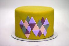 crazy colour geometric fondant cake
