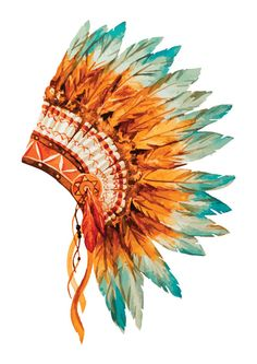 Native American Indian Headdress Watercolor by TheCrowdFactor