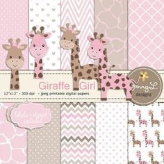 Hey, I found this really awesome Etsy listing at https://www.etsy.com/listing/226503286/giraffe-girl-baby-shower-digital-papers