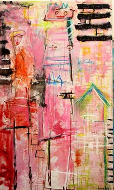 """Amadea Bailey   In The Pink   mixed media on canvas   89"""" x 53""""   Los Angeles, California, U.S.A.   2008"""