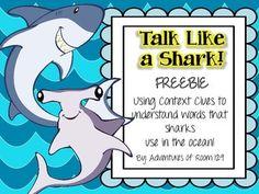 Talk Like A Shark - A Context Clue Activity Freebie!